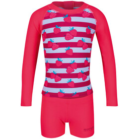 Regatta Valo Rash Swimsuit Kids neon pink strawberry
